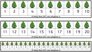 Number Lines Christmas Tree